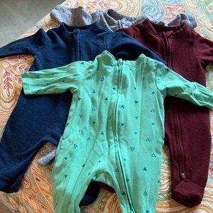 4 pack baby boy footie jammies